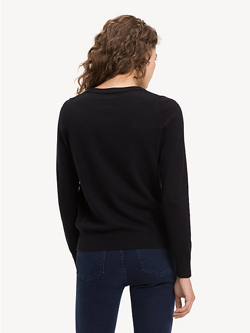 TOMMY HILFIGER Cotton Cashmere Star Jumper - BLACK BEAUTY - TOMMY HILFIGER NEW IN - detail image 1