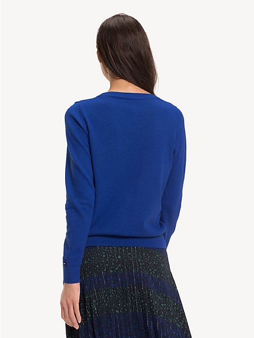 TOMMY HILFIGER Cotton Cashmere Star Jumper - MAZARINE BLUE - TOMMY HILFIGER Party Looks - detail image 1