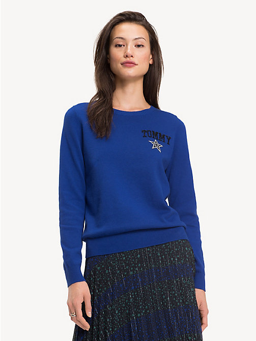 TOMMY HILFIGER Cotton Cashmere Star Jumper - MAZARINE BLUE - TOMMY HILFIGER Party Looks - main image