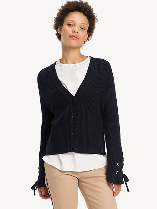 TOMMY HILFIGER Regular Fit Lace-Up Cuff Cardigan - MIDNIGHT - TOMMY HILFIGER NEW IN - main image