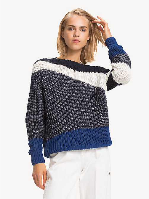 TOMMY HILFIGER Relaxed fit colour-blocked trui - SKY CAPTAIN / MULTI - TOMMY HILFIGER NIEUW - main image