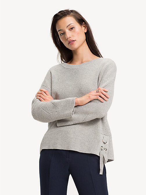 TOMMY HILFIGER Self-Tie Ribbon Jumper - LIGHT GREY HTR - TOMMY HILFIGER Jumpers - main image