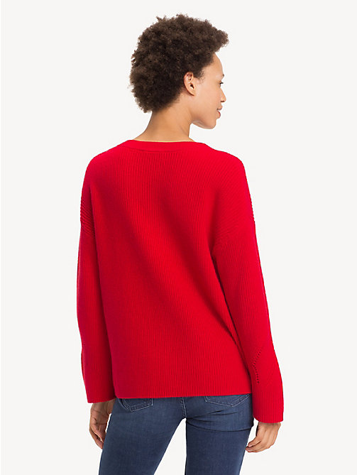 TOMMY HILFIGER Self-Tie Ribbon Jumper - TRUE RED - TOMMY HILFIGER Jumpers - detail image 1