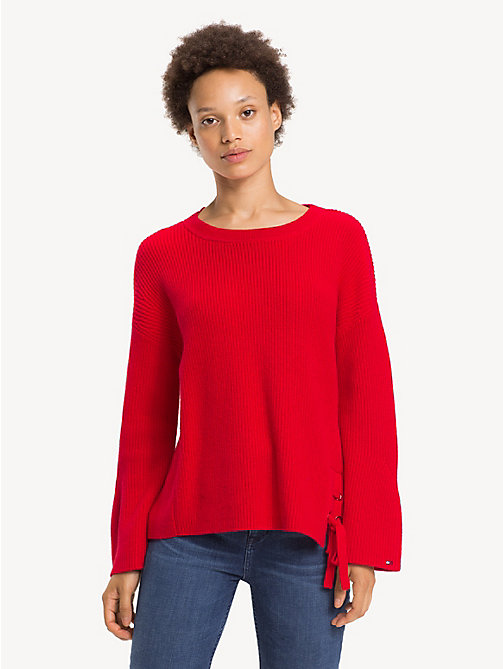 TOMMY HILFIGER Self-Tie Ribbon Jumper - TRUE RED - TOMMY HILFIGER Jumpers - main image