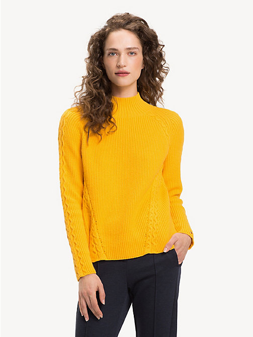 TOMMY HILFIGER Cable Knit Detail Jumper - SUNSHINE YELLOW SUNSHINE YELLOW - TOMMY HILFIGER Jumpers - main image