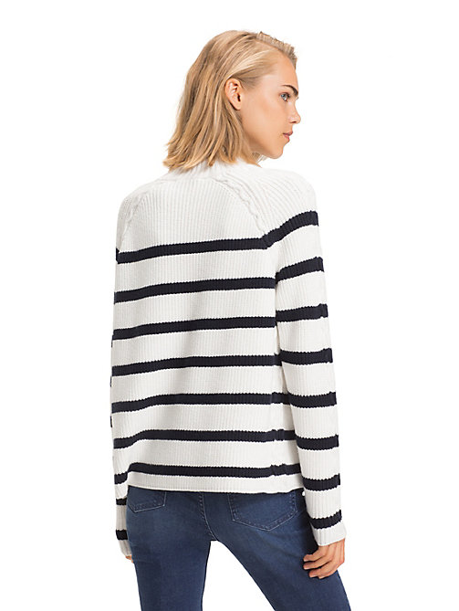 TOMMY HILFIGER Cable Knit Detail Jumper - SNOW WHITE / SKY CAPTAIN - TOMMY HILFIGER NEW IN - detail image 1
