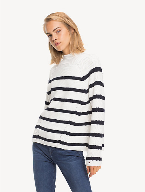 TOMMY HILFIGER Cable Knit Detail Jumper - SNOW WHITE / SKY CAPTAIN - TOMMY HILFIGER NEW IN - main image