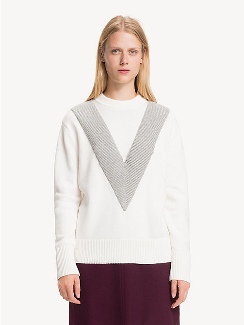 TOMMY HILFIGER Chevron Mock Neck Jumper - SNOW WHITE / LIGHT GREY HTR - TOMMY HILFIGER NEW IN - main image
