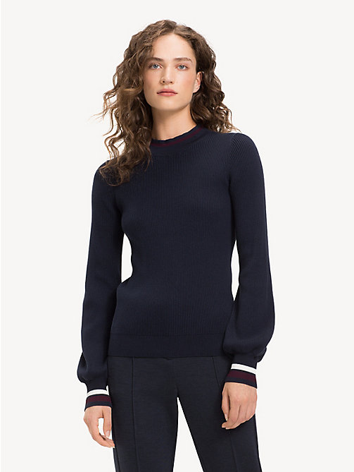 TOMMY HILFIGER Slim Fit Stripe Cashmere Blend Jumper - MIDNIGHT - TOMMY HILFIGER NEW IN - main image
