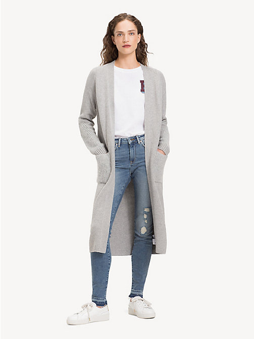 TOMMY HILFIGER Open Long-Length Cardigan - LIGHT GREY HTR - TOMMY HILFIGER Cardigans - main image