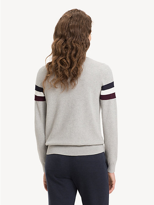 TOMMY HILFIGER Regular Fit Stripe Cashmere Blend Jumper - LIGHT GREY HTR - TOMMY HILFIGER NEW IN - detail image 1
