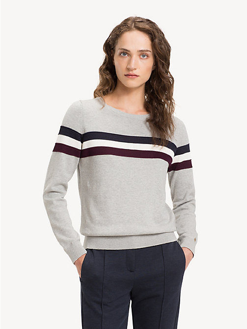 TOMMY HILFIGER Regular fit kasjmiermix trui met streep - LIGHT GREY HTR - TOMMY HILFIGER NIEUW - main image