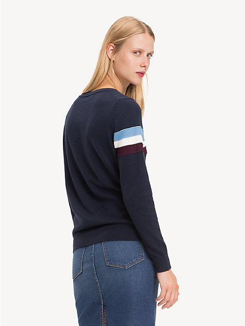 TOMMY HILFIGER Regular Fit Stripe Cashmere Blend Jumper - MIDNIGHT - TOMMY HILFIGER Jumpers - detail image 1
