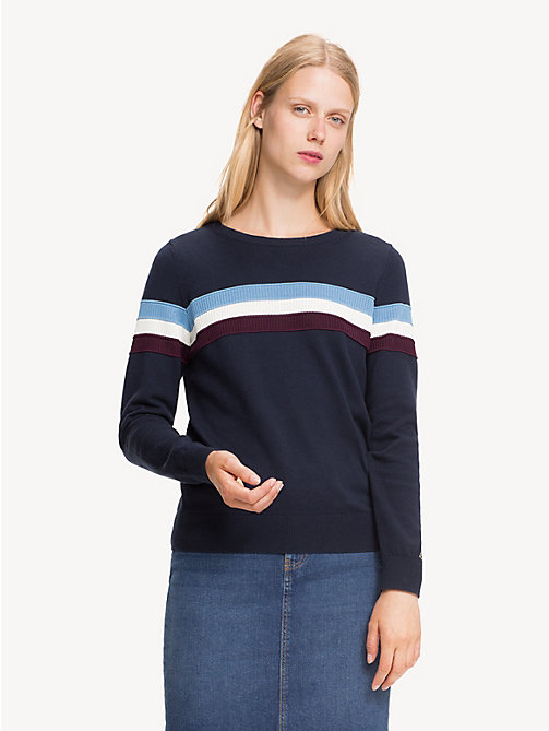 TOMMY HILFIGER Regular Fit Stripe Cashmere Blend Jumper - MIDNIGHT - TOMMY HILFIGER Jumpers - main image