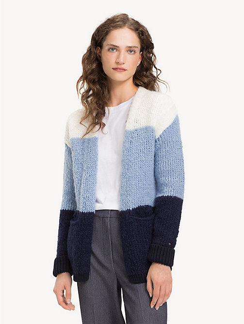 TOMMY HILFIGER V-Neck Chunky Knit Cardigan - SNOW WHITE / DUSK BLUE / MIDNIGHT - TOMMY HILFIGER Cardigans - main image