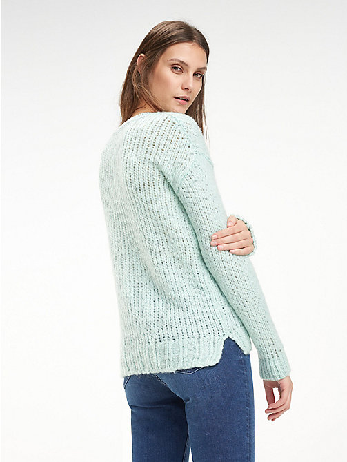 TOMMY HILFIGER Chunky Knit Crew Neck Jumper - AQUA FOAM - TOMMY HILFIGER Jumpers - detail image 1