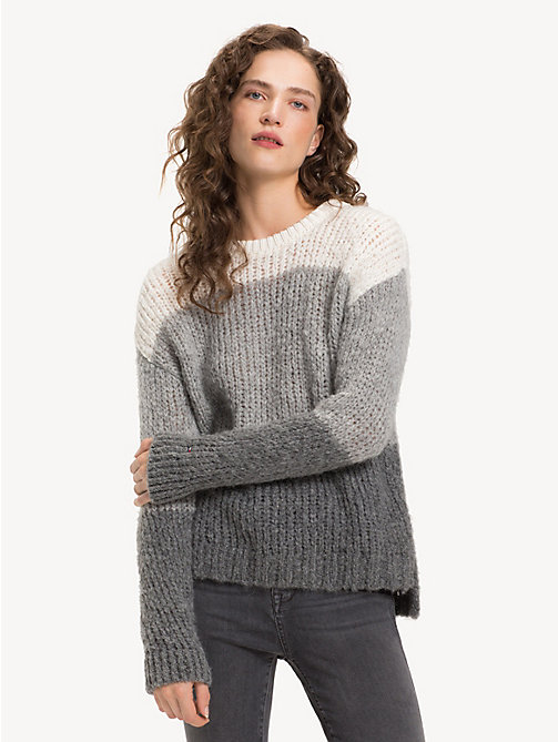 TOMMY HILFIGER Pullover in maglia grossa - SNOW WHITE / LIGHT GREY HTR MULTI - TOMMY HILFIGER Come Scaldarti - immagine principale