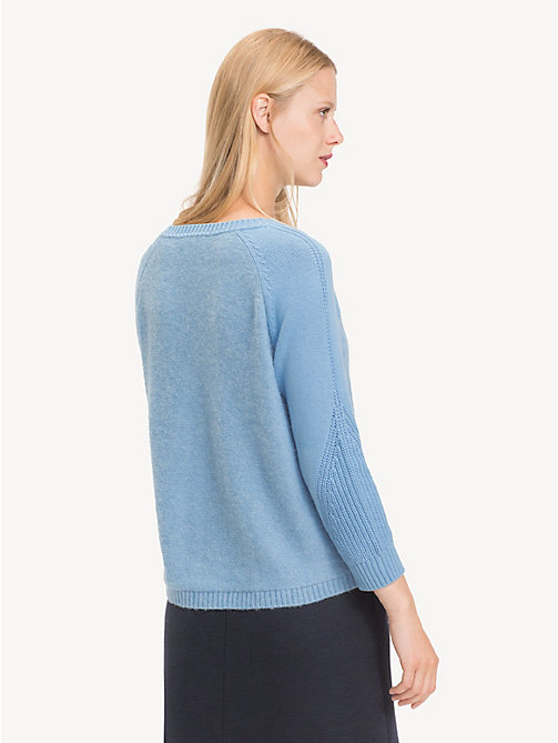 TOMMY HILFIGER Contrast Knit Wool Jumper - DUSK BLUE - TOMMY HILFIGER Jumpers - detail image 1