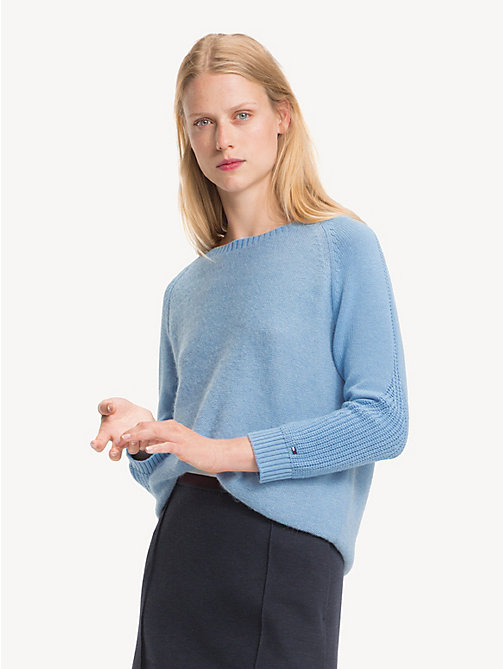 TOMMY HILFIGER Contrast Knit Wool Jumper - DUSK BLUE - TOMMY HILFIGER Jumpers - main image