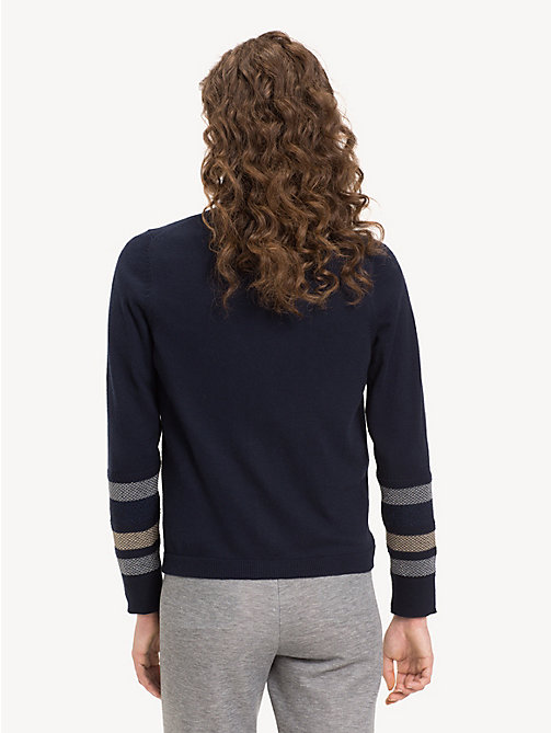 TOMMY HILFIGER Metallic Stripe V-Neck Cardigan - MIDNIGHT - TOMMY HILFIGER Cardigans - detail image 1