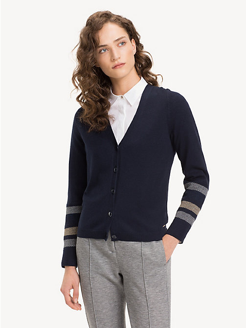 TOMMY HILFIGER Metallic Stripe V-Neck Cardigan - MIDNIGHT - TOMMY HILFIGER Winter Warmers - main image
