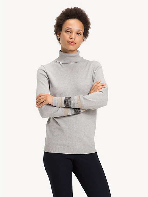 TOMMY HILFIGER Metallic Striped Turtleneck Jumper - LIGHT GREY HTR - TOMMY HILFIGER Winter Warmers - main image
