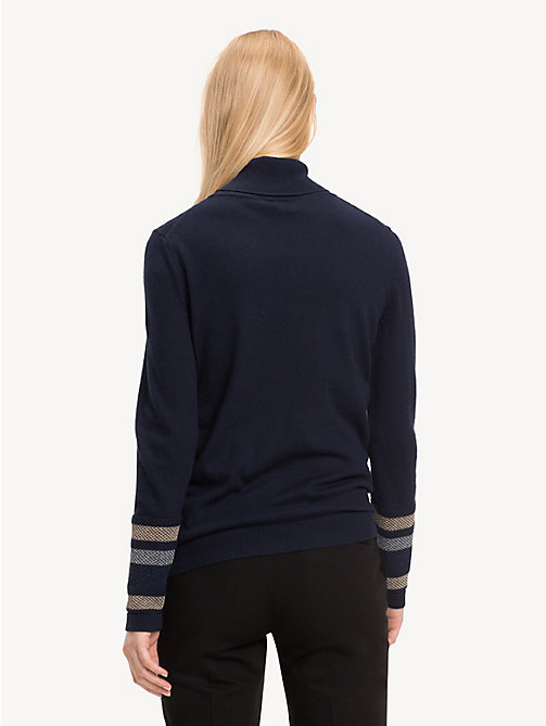 TOMMY HILFIGER Metallic Striped Turtleneck Jumper - MIDNIGHT - TOMMY HILFIGER Winter Warmers - detail image 1