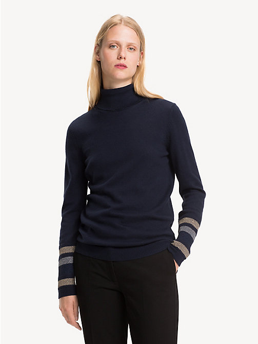 TOMMY HILFIGER Metallic Striped Turtleneck Jumper - MIDNIGHT - TOMMY HILFIGER Winter Warmers - main image