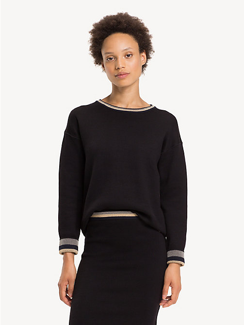 TOMMY HILFIGER Reversible Crew Neck Jumper - BLACK BEAUTY - TOMMY HILFIGER Winter Warmers - main image