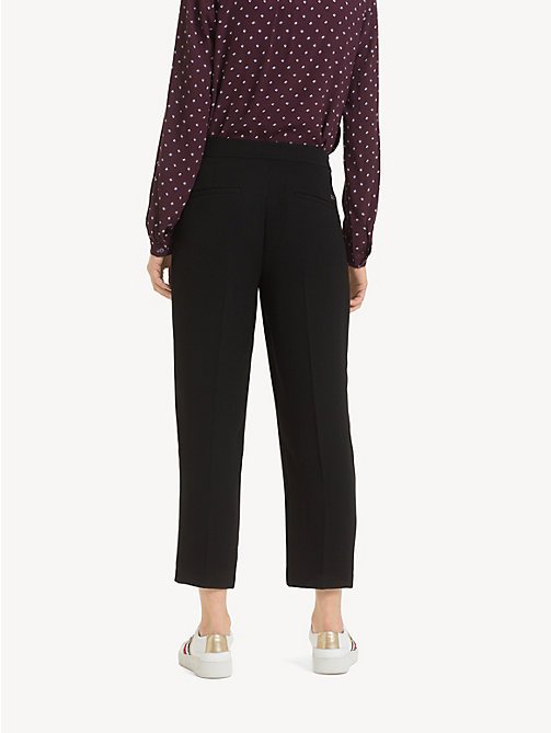 TOMMY HILFIGER Chain Detail Crepe Trousers - BLACK BEAUTY - TOMMY HILFIGER Cropped Trousers - detail image 1