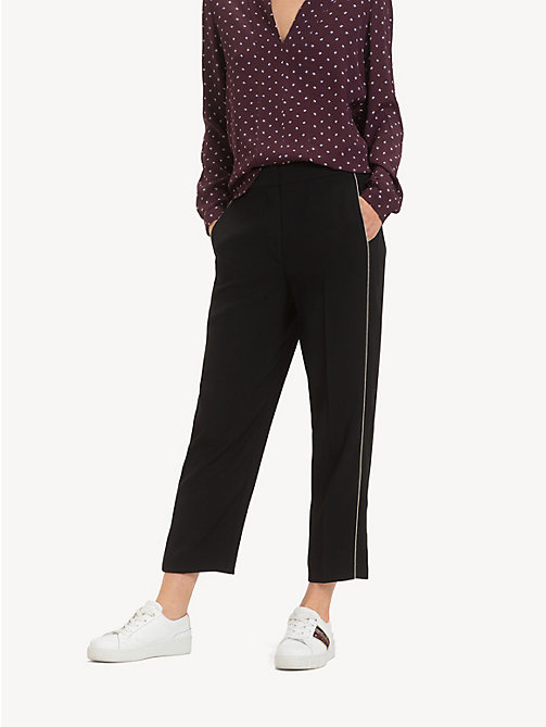 TOMMY HILFIGER Chain Detail Crepe Trousers - BLACK BEAUTY - TOMMY HILFIGER Cropped Trousers - main image