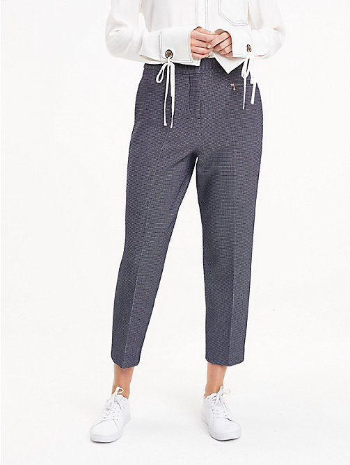 TOMMY HILFIGER Houndstooth Cropped Trousers - MIDHNIGHT HTR - TOMMY HILFIGER Cropped Trousers - main image
