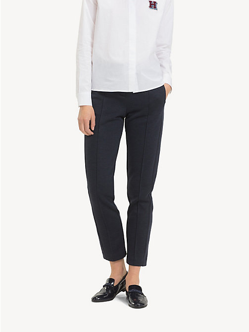 TOMMY HILFIGER Smart Jersey Trousers - MIDNIGHT - TOMMY HILFIGER Cropped Trousers - main image