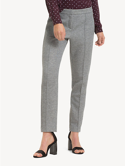 TOMMY HILFIGER Smart Jersey Trousers - MEDIUM GREY HTR - TOMMY HILFIGER Cropped Trousers - main image