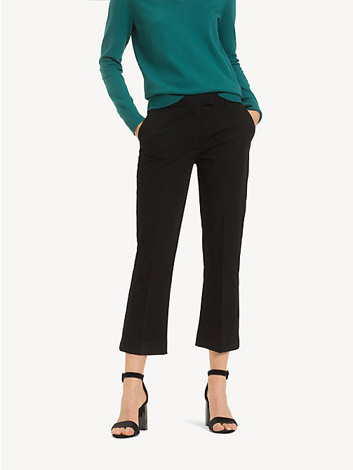 TOMMY HILFIGER Cropped Kick Flare Trousers - BLACK BEAUTY - TOMMY HILFIGER Cropped Trousers - main image
