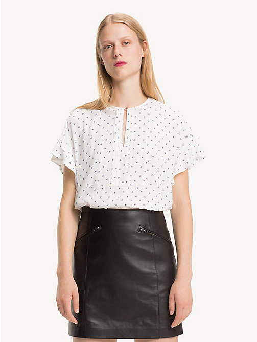 TOMMY HILFIGER V-Neck Print Blouse - STRIPE MINIMAL / SNOW WHITE - TOMMY HILFIGER Shirts - main image