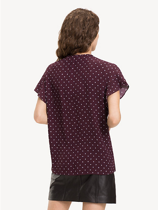 TOMMY HILFIGER Print Blouse - STRIPE MINIMAL / PLUM - TOMMY HILFIGER NEW IN - detail image 1