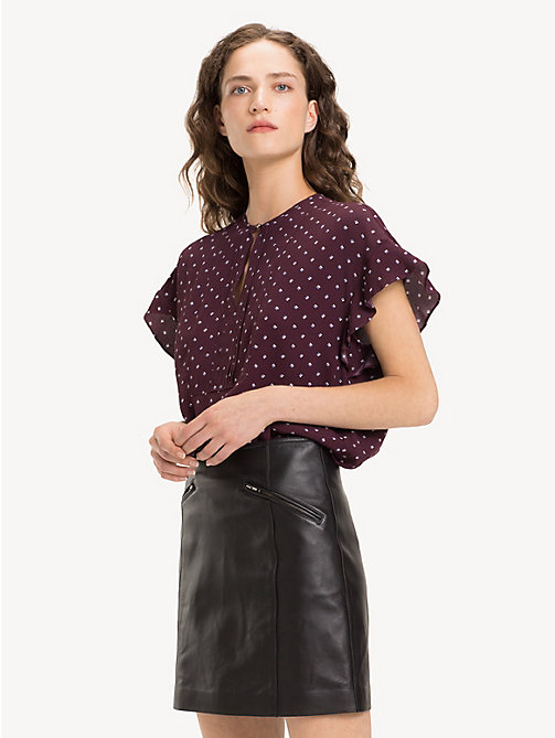 TOMMY HILFIGER Print Blouse - STRIPE MINIMAL / PLUM - TOMMY HILFIGER NEW IN - main image