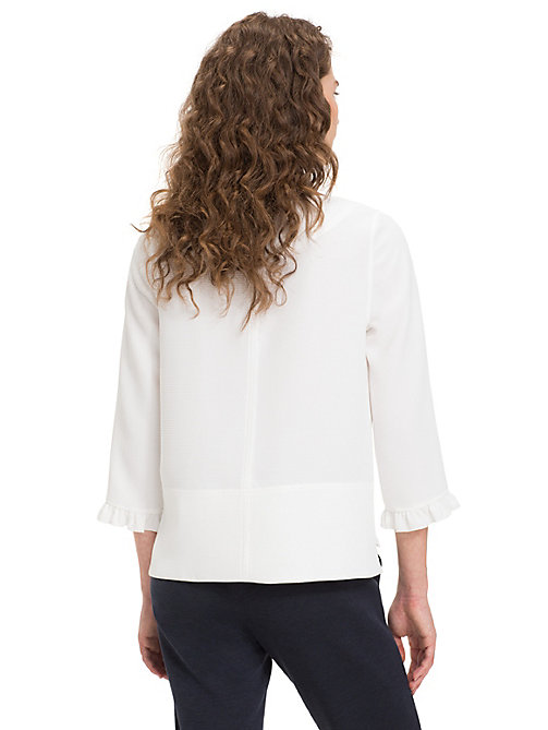 TOMMY HILFIGER Ruffle Cuff Boat Neck Blouse - SNOW WHITE - TOMMY HILFIGER NEW IN - detail image 1