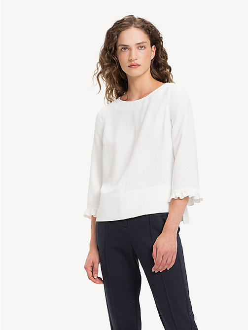 TOMMY HILFIGER Ruffle Cuff Boat Neck Blouse - SNOW WHITE - TOMMY HILFIGER NEW IN - main image