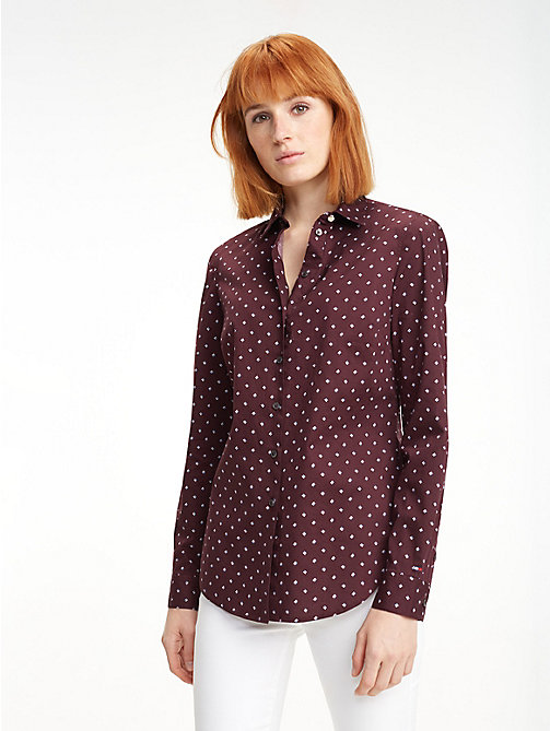 TOMMY HILFIGER Slim Fit Shirt - STRIPE MINIMAL / PLUM - TOMMY HILFIGER Sustainable Evolution - main image