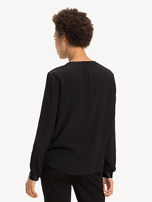 TOMMY HILFIGER Notch Neck Viscose Blouse - BLACK BEAUTY - TOMMY HILFIGER Party Looks - detail image 1