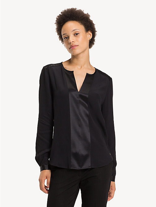 TOMMY HILFIGER Notch Neck Viscose Blouse - BLACK BEAUTY - TOMMY HILFIGER Rebajas Women - main image