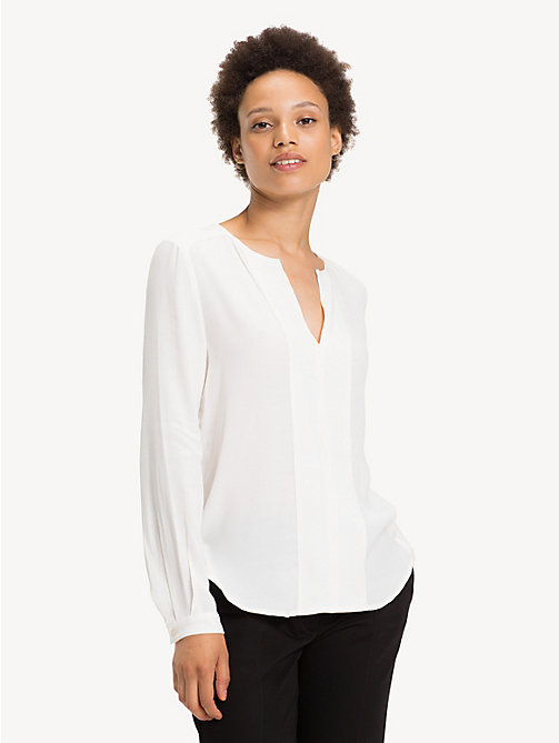 TOMMY HILFIGER Notch Neck Viscose Blouse - SNOW WHITE - TOMMY HILFIGER Tops - main image
