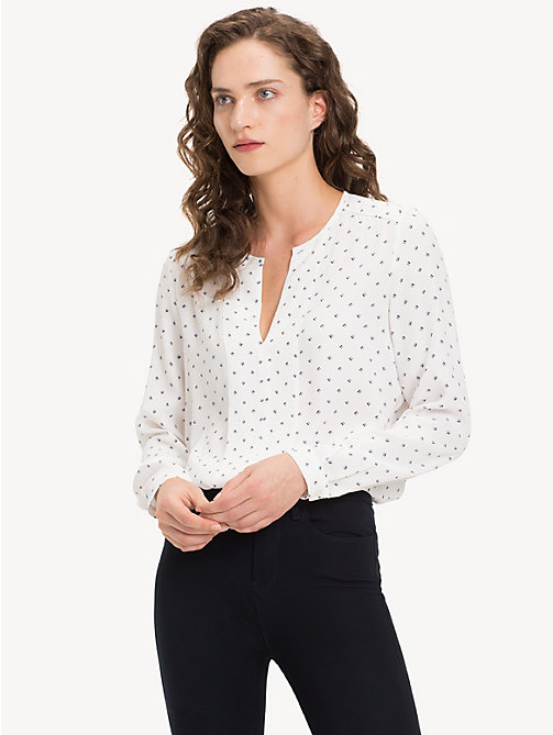 TOMMY HILFIGER Notch Neck Viscose Blouse - STRIPE MINIMAL / SNOW WHITE - TOMMY HILFIGER Shirts - main image