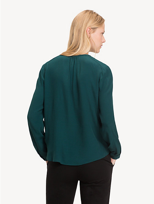 TOMMY HILFIGER Notch Neck Viscose Blouse - PONDEROSA PINE - TOMMY HILFIGER Tops - detail image 1