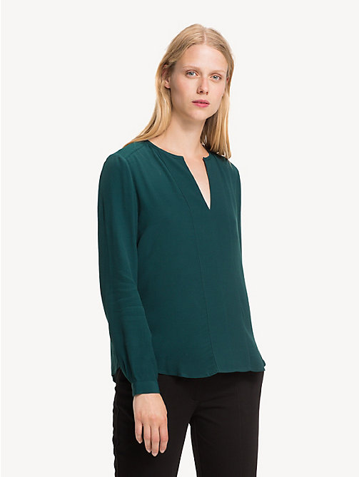 TOMMY HILFIGER Notch Neck Viscose Blouse - PONDEROSA PINE - TOMMY HILFIGER Tops - main image