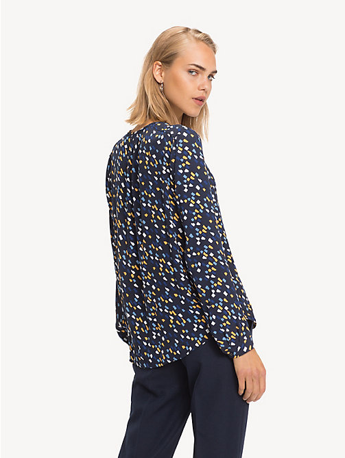 TOMMY HILFIGER Notch Neck Viscose Blouse - PAINTED MINIMAL / SKY CAPTAIN - TOMMY HILFIGER NEW IN - detail image 1