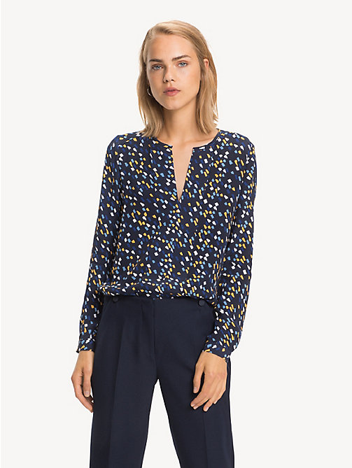 TOMMY HILFIGER Notch Neck Viscose Blouse - PAINTED MINIMAL / SKY CAPTAIN - TOMMY HILFIGER NEW IN - main image