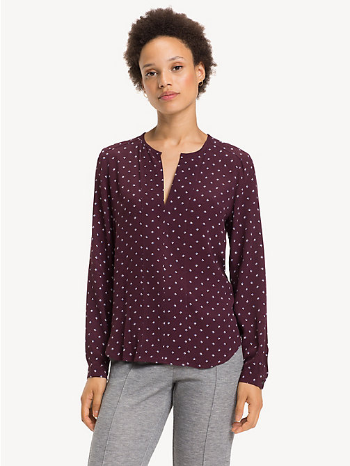 TOMMY HILFIGER Notch Neck Viscose Blouse - STRIPE MINIMAL / PLUM - TOMMY HILFIGER NEW IN - main image